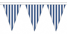Blue and White Striped Traditional 10m 24 Flag Polyester Triangle Flag Bunting